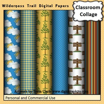 Outdoors Digital Papers Set - Wilderness Trail - Color personal & commercial use