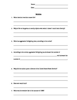 """""""Wildfire"""" Comprehension Questions"""
