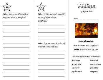 Wildfires Trifold - Wonders 3rd Grade Unit 5 Week 3