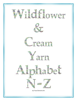 Wildflower & Cream Yarn Alphabet Clip Art Set 2 (Capital N-Z)