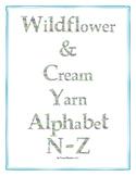 Wildflower & Cream Yarn Alphabet Clip Art Set 2 (Capital N-Z)