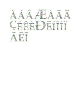 Wildflower & Cream Yarn Alphabet Clip Art Set 4 (Capital Special Characters 1)