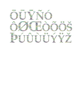 Wildflower & Cream Yarn Alphabet Clip Art Set 5 (Capital Special Characters 2)