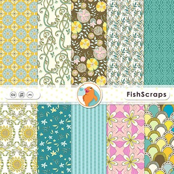 Wildflower Patterned Digital Papers