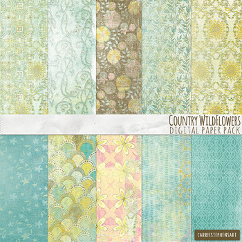 Wildflower Shabby Chic, Textured Floral Digital Papers