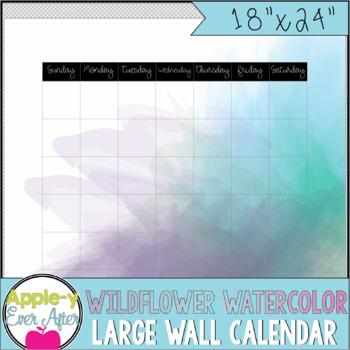 "Wildflower Watercolor - Large Blank Wall Calendar! 18""x24"""