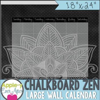 """Chalkboard Zen - Large Blank Wall Calendar! 18""""x24"""""""