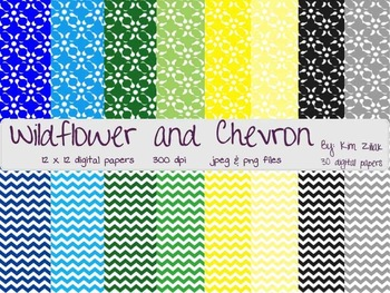 Wildflower and Chevron Digital Paper {30 papers}