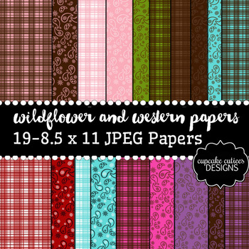 Wildflowers and Western Bandanna Plaid Digital Paper Pack 8.5 x 11 JPEG