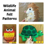 3 Wildlife Animals Felt Hand Sewing Patterns Bundle