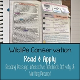 Wildlife Conservation Reading Comprehension Interactive Notebook