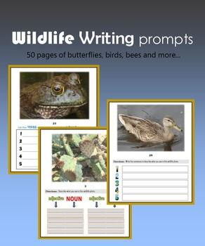 Wildlife Writing Prompts:  50 pages of butterflies, birds,