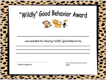 Wildly Good Behavior Award for Jungle Theme