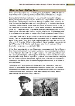 Wilfred Owen War Poems Others Teacher Text Guides Worksheets