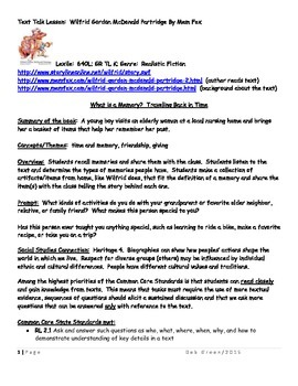 Wilfrid Gordon McDonald Partridge Text Talk