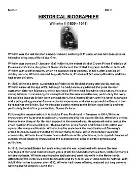 Wilhelm II Biography Article and (3) Assignments