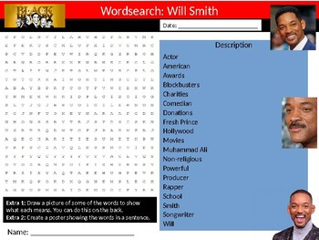 Will Smith Wordsearch Black History Month Keywords Settler Homework Cover
