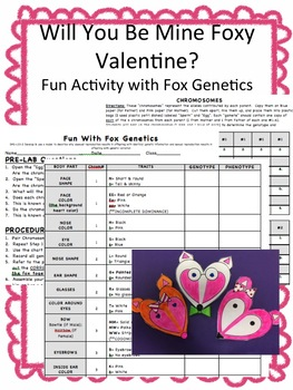 Will You Be Mine Foxy Valentine? Fun w/Fox Genetics! W/Teacher's Guide