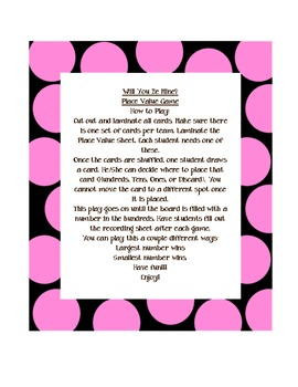 Will You Be Mine? Place Value Game