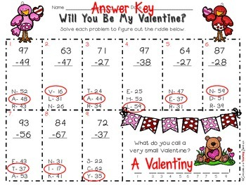 Will You Be My Valentine? - 2-Digit Subtraction with Regrouping