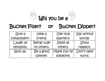 Will You Be a Bucket Filler? or Bucket Dipper? Sorting Activity