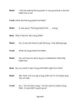 Will You Eat A Bug? Small Group Reader's Theater