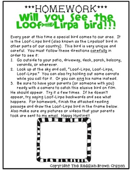 Will You Find the Loof-Lirpa Bird?