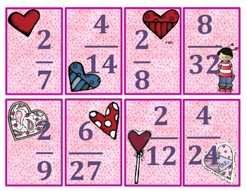Will you be mine valentine? An equivalent Fractions game.