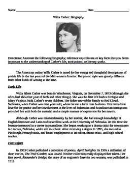 Willa Cather: Biography Annotate