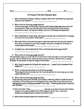 Willa Cather's O Pioneers! Quiz Pack