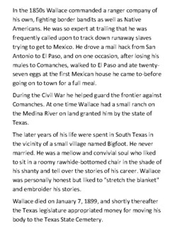 William A. A. Wallace - Texas Ranger Handout