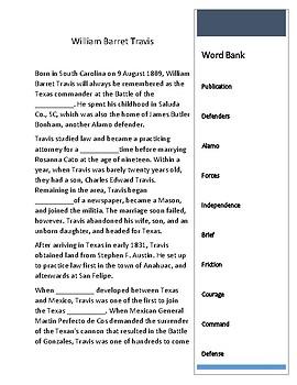 William Barret Travis ---  CLOZE Reading