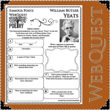 William Butler Yeats - WEBQUEST for Poetry - Famous Poet