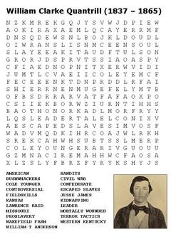 William Clarke Quantrill Word Search