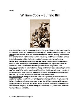 William Cody Buffalo Bill Information Facts History Questions Vocab Activities