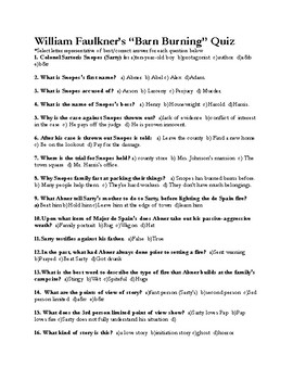 """William Faulkner's """"Barn Burning"""" Quiz (w/ Answer Key)"""