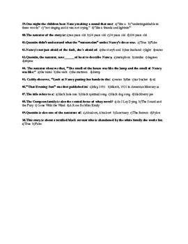 "William Faulkner's ""That Evening Sun"" Final Examination & Answer Key"