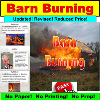 Barn Burning By William Faulkner By Powerpoint Guru Tpt