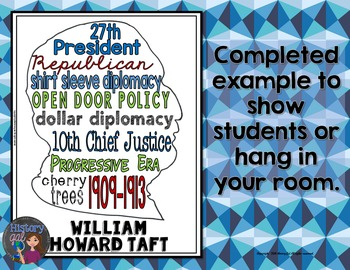 William Howard Taft Coloring Page and Word Cloud Activity