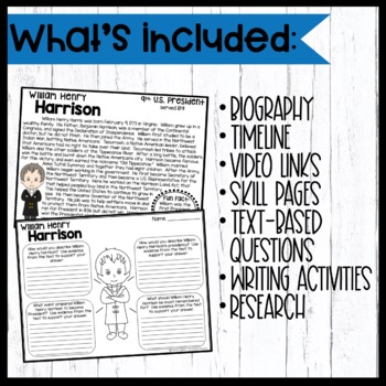 William Henry Harrison: Biography, Timeline, Graphic Organizers, and more!