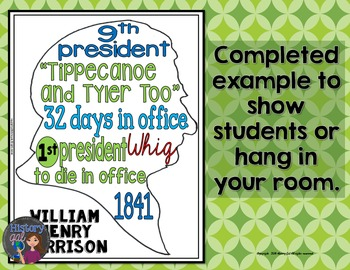 William Henry Harrison Coloring Page and Word Cloud Activity
