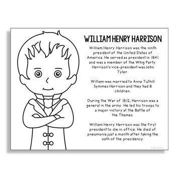 President William Henry Harrison Coloring Page Craft or Poster with Mini Biog