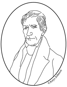 William Henry Harrison (9th President) Clip Art, Coloring Page or Mini Poster