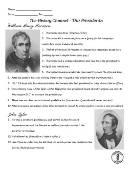 William Henry Harrison and John Tyler Video Guides- A & E Series The Presidents
