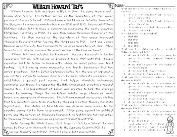 William Howard Taft Differentiated Reading Passages & Questions