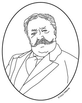 William Howard Taft (27th President) Clip Art, Coloring Pa
