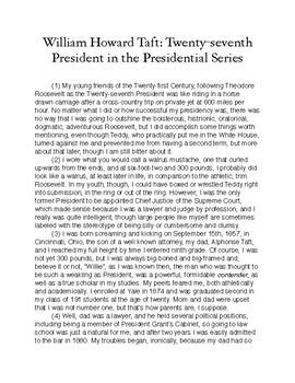 William Howard Taft, Twenty-seventh President in the Presidential Series