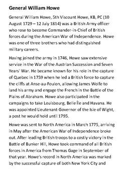 William Howe Handout
