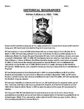 William II Biography Article and (3) Assignments