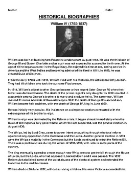William IV  Biography Article and (3) Assignments